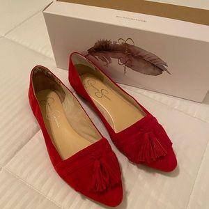 Red suede point toe flats